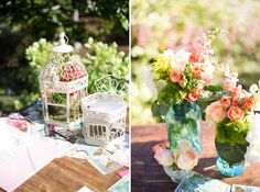 Colorful Shabby Chic floral arrangements by Kalena Brose Events at Elizabeth Gamble Garden in Palo Alto