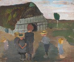 Paula Modersohn-Becker - Kinder vorm Bauernhaus; Creation Date: 1901; Medium: Oil on cardboard