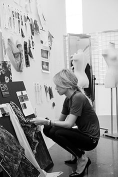 Fashion Design Studio - Elin Kling working on her collection for Guess by Marciano - fashion designer's at work; fashion behind the scenes