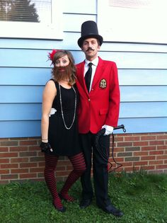 Circus theme halloween costumes bearded lady and the ringmaster  2013 family costumes