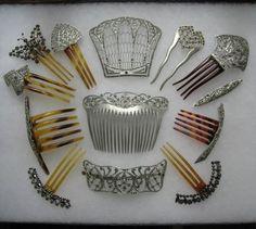 Antique Aluminum Rhinestone hair combs <3