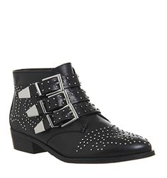 New in - Lucky Charm Studded Buckle Western Boots in Black Leather Silver Hardware. Everyone's favourite ankle boot!