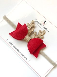 Excited to share the latest addition to my shop: Reindeer Bow, Riendeer Headband, Christmas Bo Making Hair Bows, Diy Hair Bows, Diy Baby Headbands, Handmade Hair Bows, Headbands For Girls, Girls Hair Clips, Bow Template, Barrettes, Hairbows