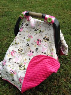 & Car Seat Cover - Spring Pink Owl Car Seat Canopy | Pink Cars and Owl