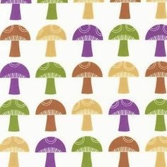 Print & Pattern, To Market To Market, Mushrooms Retro Fabric - By the Yard Retro Fabric, Modern Fabric, Cotton Crafts, Robert Kaufman, Drawing, My Favorite Color, Favorite Things, Softies, Graphic