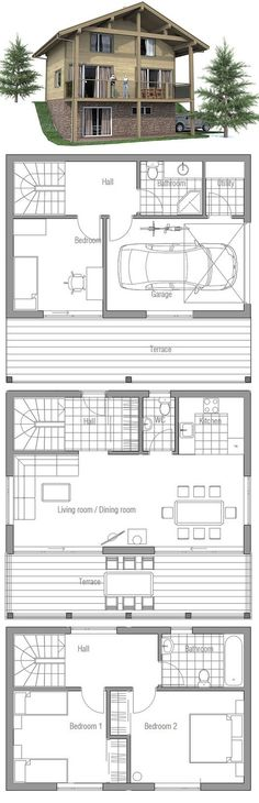 Small house plan to the sloping lot. Open living area, three bedrooms. Small home design with affordable building budget.