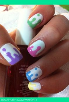 """This is so cute for summer! Fun Nail design.  """"Using the tip of a bobby pin as a dotting tool.  First, make some random dots partway down the nail, where you want the  'dripping' to go.  Then drag the color up to the tip of the nail and spread the color out along the top of the nail.""""  My daughter and I will have some fun doing this to her nails.  So cute!  via~Marcela F. Brazil (GOTTA DO THIS) Simple Nail Art Designs, Cute Nail Designs, Short Nail Designs, Nail Art For Beginners, Beauty Nails, Fun Nails, Cute Easy Nails, Drip Nails, Cute Nail Art"""