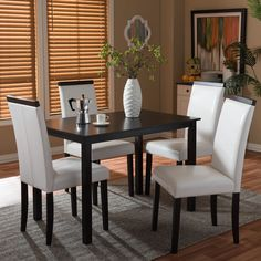 Improve the look of your dining area with the Baxton Studio Milano Cream/ Tan Modern 5-piece Dining Set. Made of quality materials, this dining set is both long lasting and stylish.