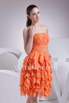 A-line Party Dresses Strapless Knee Length Chiffon Orange 050010100244