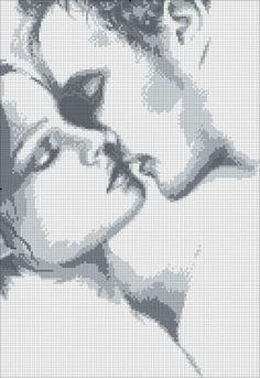 Black and white wedding cross stitch pattern
