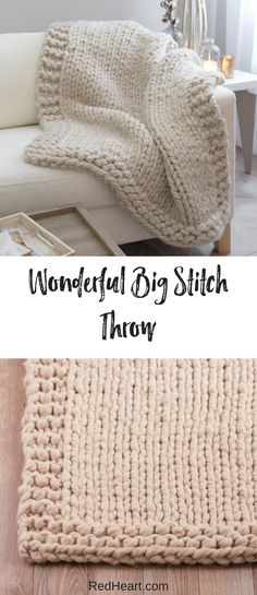 Knit this superbly cushy throw on big knitting needles and update your favorite relaxing spot in modern style. This acrylic yarn with just a bit of wool means you can get the mega-thick look at a budget-friendly price.