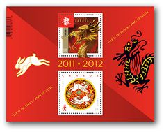 Canada Post has an awesome series of Lunar New Year stamps. This is the commemorative sheet showing the progression from last year (Year of the Rabbit) to this year (Year of the Dragon). Released today. @Rosemary Rowe brought me one home from the post office today. Now framed and on my desk. Yay!