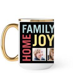 Family Home Joy Mug, Gold Handle, 15 oz, Black