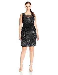 Adrianna Papell Women's Plus-Size Sleeveless Ombre Beading Dress, Black, 22W Adrianna Papell http://smile.amazon.com/dp/B013VRH6SM/ref=cm_sw_r_pi_dp_d08axb077V39F
