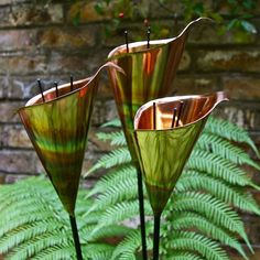 elegant copper lily garden sculpture set of three by london garden ...