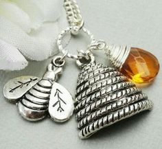 bee and beehive necklace