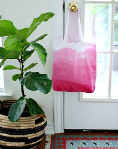 Moms are great at schlepping. Ease her load with a dip-dyed neon tote. | 24 Ridiculously Easy DIY Mother's Day Gifts