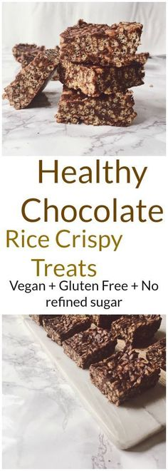 Healthy Chocolate Rice Crispy Treats recipe #chocolate #healthy #dessert #rice #crispy #treats