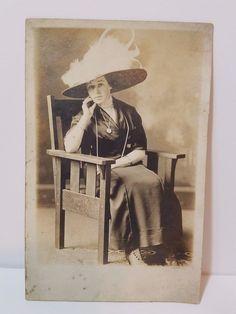 Vintage Antique Real Photo Photograph Post Card Ephemera Postcard Lady Woman Old