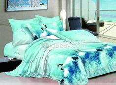 Lightcyan 4 Piece Cotton Bedding Sets with Snow-white Cranes
