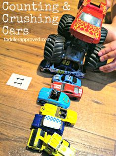 Toddler Approved!: Counting and Crushing Cars. Do you have any other fun ideas to use cars to learn?
