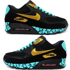 After seeing the Bacon Air Jordan V's Sekure D hits us with another masterpiece with these Nike Air Max's. Custom Teal Night Air Max by Sekure D. Cute Sneakers, Casual Sneakers, Cute Shoes, Air Max Sneakers, Sneakers Fashion, Sneakers Nike, Fashion Outfits, Nike Airmax 90, Air Max 90 Leather