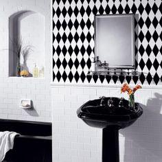 20 Bathroom Tiles You WILL Love: Striking Harlequin Bathroom