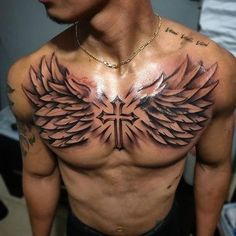 Most men like cross tattoos. If you are looking cross tattoos for men then here we have collected some cross tattoo designs and some information. Small Chest Tattoos, Chest Piece Tattoos, Pieces Tattoo, Chest Tattoos For Women, Cool Tattoos For Guys, Chest Tattoo Wings, Best Chest Tattoos, Chest Tattoo Clouds, Wing Tattoo Arm