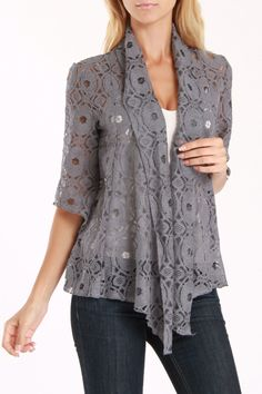 Anna Lee and Hope Lucy Cardigan In Gray - 25 usd