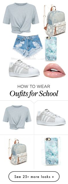 """Back To School"" by thatgirlsgotstylee on Polyvore featuring T By Alexander Wang, adidas, Levi's, Red Camel, Casetify, outfit, casualoutfit, denimshorts and fashionset"
