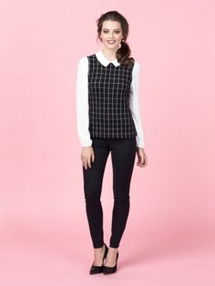 Review Australia | Piccadilly Check Top in Black and Cream. How super geeky chic is this look?!?! I LOVE IT!!! MUST OWN!!! IMMEDIATELY!!! <3 <3 <3