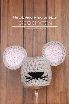 trendy ideas for crochet baby diaper cover pattern free mice Crochet Baby Hats Free Pattern, Crochet Baby Hat Patterns, Crochet For Kids, Baby Patterns, Crochet Ideas, Crochet Projects, Sombrero A Crochet, Crochet Beanie, Crocheted Hats