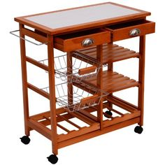 """The #HomCom 29"""" Double Drawer Rolling Trolley Cart is a perfect addition to anyone's apartment or home. Made with sturdy pine wood and honey colored finish this ..."""