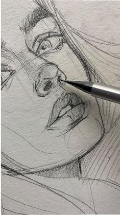 42 ideas drawing art ideas sketches creative sketchbooks for 2019 - Art sketchbook - Art Sketches Pencil Art Drawings, Art Drawings Sketches, Cool Drawings, Sketch Art, Sketch Girl Face, Drawings Of People, Hair Drawings, Sketches Of People, Doodle Sketch
