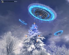 UFOs hunting for the perfect Christmas tree.
