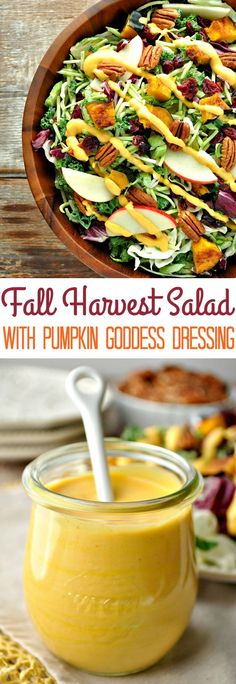 Fall Harvest Salad with Pumpkin Goddess Dressing Fall Harvest Salad with Pumpkin Goddess Dressing. This Fall Harvest Salad with Pumpkin Goddess Dressing celebrates the bounty of the season, and it's a healthy Thanksgiving side dish! Harvest Salad, Healthy Recipes, Cooking Recipes, Healthy Meals, Cheap Recipes, Quick Recipes, Vegetarian Recipes, Healthy Food, Thanksgiving Side Dishes