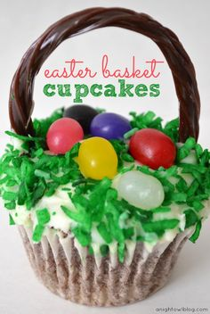 Cute and Easy Easter Basket Cupcakes!!!!!    Ingredients  *Chocolate cake mix and ingredients called for on the box  *Cupcake liners  *Vanilla icing  *Shredded coconut  *Green food coloring  *Jelly beans  *Chocolate Twizzlers