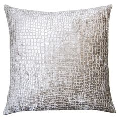 Brilliante Silver Croco Throw Pillow @LaylaGrayce