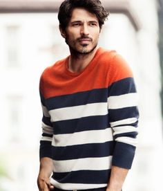 There's something about striped sweaters that make you look so much more attractive. Mens Fashion Blog, Fashion Moda, Men's Fashion, Daily Fashion, Dope Sweaters, Knit Sweaters, Well Dressed Men, Stylish Men, Swagg