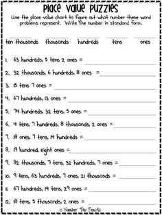 Use this freebie as a way for your students to gain additional practice transferring words in word form to standard form. Works with numbers to the ten thousands.