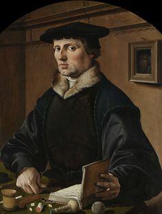Maarten van Heemskerck | Portraits of a Couple, possibly Pieter Gerritsz Bicker and Anna Codde, Maarten van Heemskerck, 1529 | Portret van een man, vroeger geidentificeerd als Pieter Gerritsz Bicker. Muntmeester en schepen van Amsterdam. Zittend, ten halven lijve, achter een tafel, waarop hij geld aan het tellen is. In de linkerhand een opengeslagen boek. Op tafel liggen een stempel, een staafje was en een bal touw. Aan de muur een spiegel. Pendant van SK-A-3519.