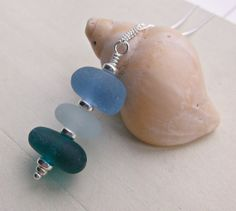 Rare Sea Glass Stack Sterling Silver Necklace by SeahamWaves, £25.00