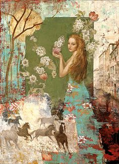 """FRANÇOIS FRESSINIER """"My Heart is Fall"""" I like the top half of this painting...not so sure about the horses..."""