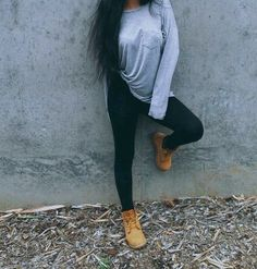 Comfy, timberland, black leggings