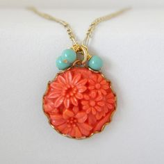 Coral and Mint Green Vintage Simple Charm by ImogenandEloise, via Etsy.