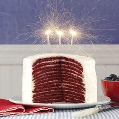 Red Velvet Crepe Cakes Recipe -It's well worth the time to make this beautiful and delicious cake. Each moist layer is separated by a rich and creamy filling. Treat your family on special occasions with this cake. Red Velvet Birthday Cake, Cool Birthday Cakes, Birthday Bash, Cupcakes, Cupcake Cakes, Cupcake Ideas, Dessert Ideas, Crepes, Red Velvet Recipes