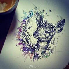 Karolina Kubikowska deer tattoo idea - awesome!!! (Emily's Moose)