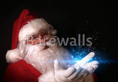 """Christmas theme with Santa holding magical lights in hands"" - Christmas art prints available at Barewalls.com"