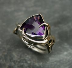 PEACOCK' collection. Sterling silver and 9ct gold ring with Amethyst. $900.00, via Etsy.