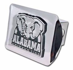University of Alabama Black with Chrome Crimson Tide Seal NCAA College Sports Metal Trailer Hitch Cover Fits 2 Inch Auto Car Truck Receiver